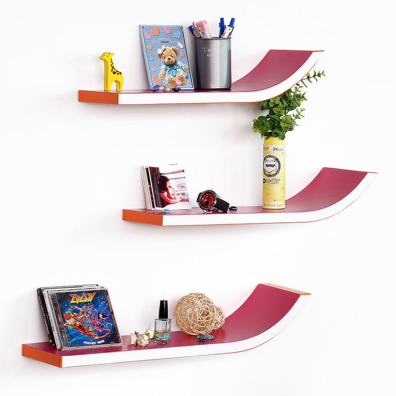 blancho stylish j type leather wall shelf