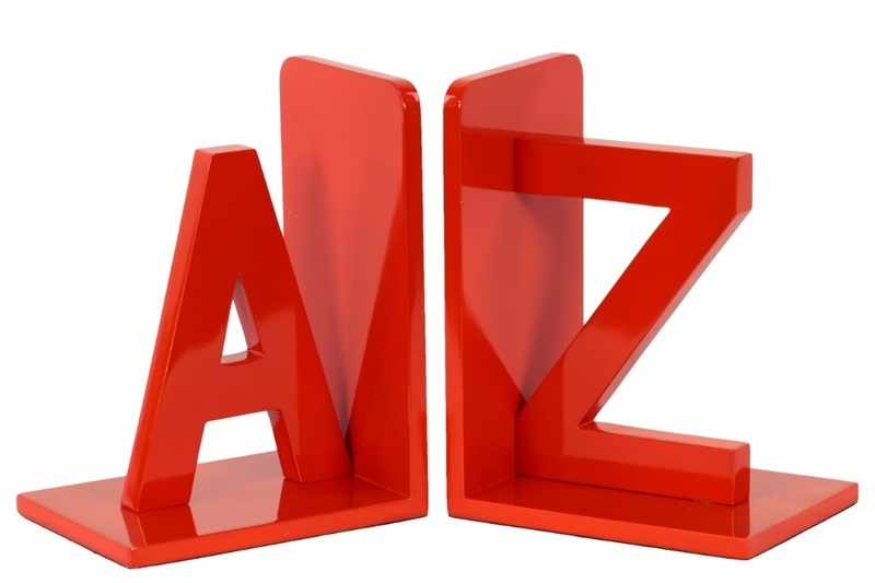 "Benzara Wood Alphabet Sculpture ""az"" Bookend Assortment Of 2 - Red -"