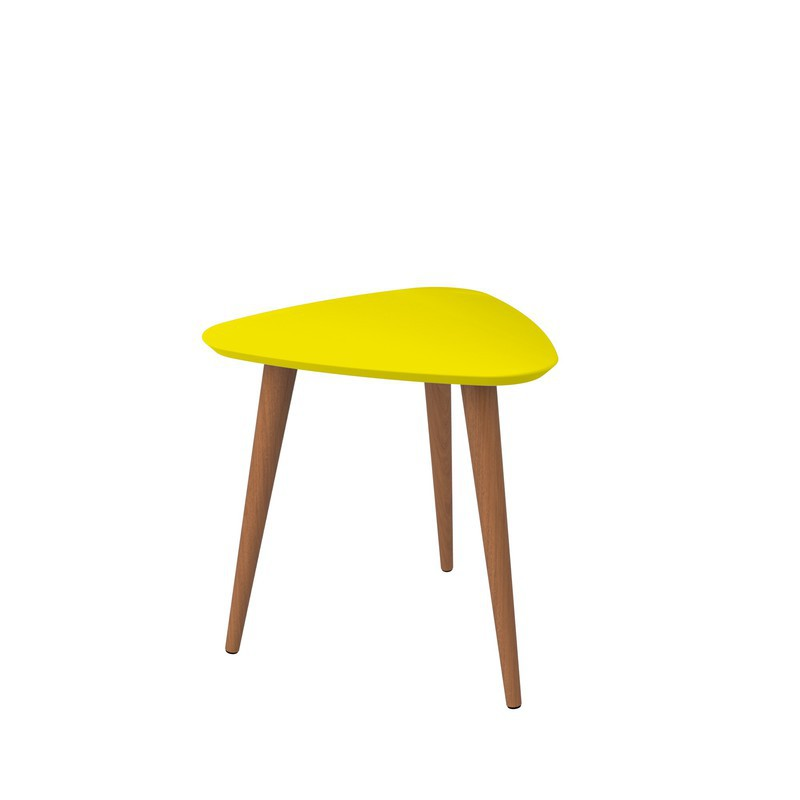 "Manhattan Comfort  Utopia 19.68"" High Triangle End Table With Splayed Wooden Legs In Yellow"