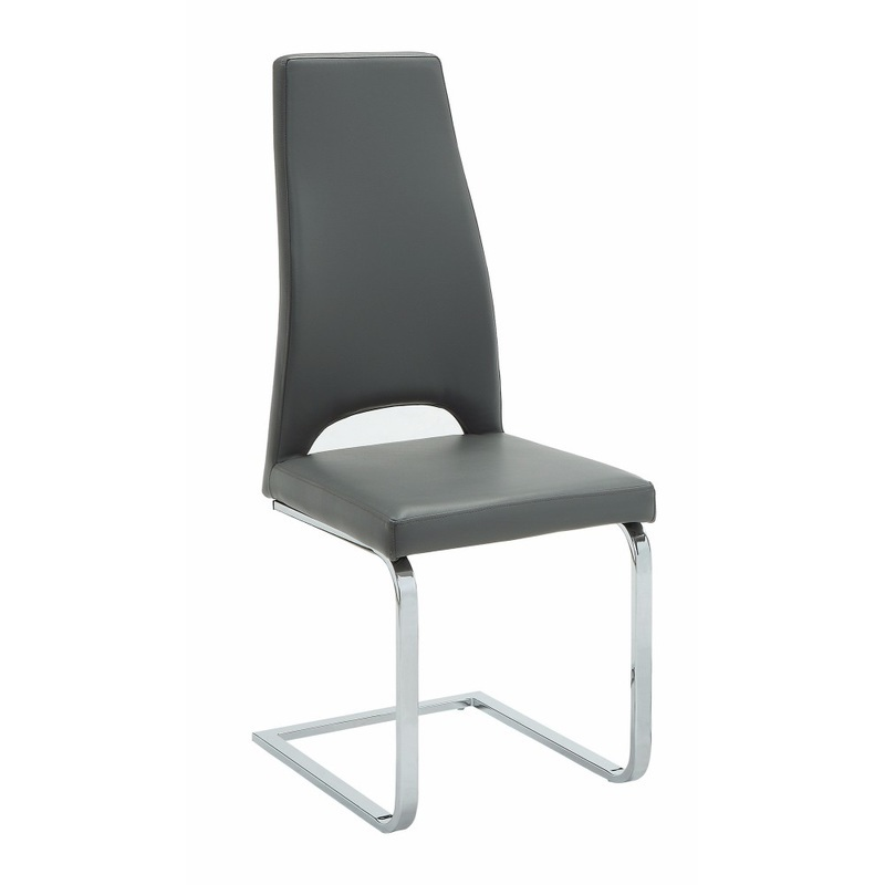 Benzara Stylish High Back Cantilever Base Dining Chair