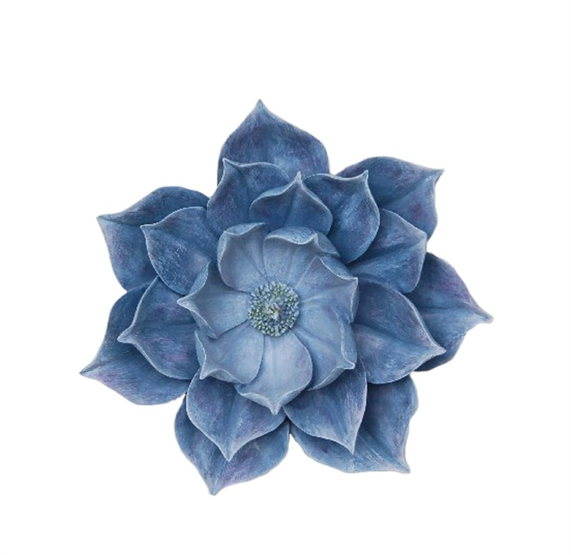 Benzara Utterly Fascinating Decorative Resin Lotus Wall Flower Decor, Blue