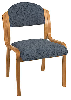 "KFI 1920-V ""1900"" Series Wood Stack Chair with Grade 3 Fabric: 2"" Seat, Without Arms"