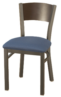 "KFI 3306-WS ""3300"" Series Metal Back Cafe Chair with Wood Seat"