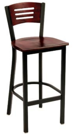"KFI BR3309-WS ""3300"" Series Metal Back Cafe Chair with Wood Seat"