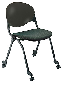 "KFI ""2000"" Series Stack Chair: Armless Upholstered Seat and Poly Back with Casters"
