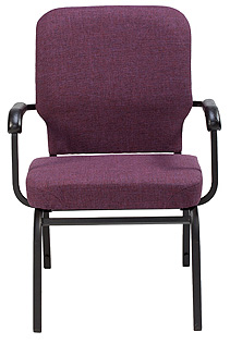 "KFI ""HTB1041"" Series 3.5"" Seat Stack Chair with Grade 3 Fabric, With Arms"