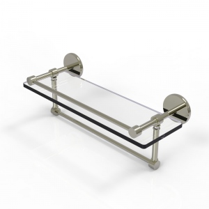 Allied Brass 16 Inch Gallery Glass Shelf with Towel Bar (product:P1000-1TB/16-GAL, option:P1000-1TB/16-GAL-PNI): Polished Nickel
