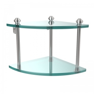 Allied Brass Southbeach Collection Two Tier Corner Glass Shelf (product:SB-3, option:SB-3-SCH): Satin Chrome