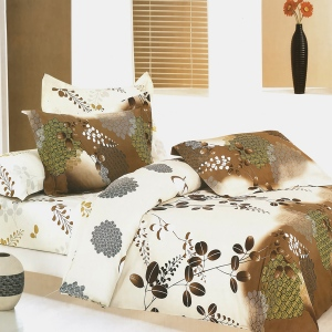 Blancho  100% Cotton 4PC Duvet Cover Set  - Brown Chestnut