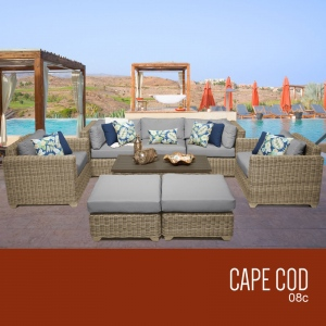 Cape Cod 8 Piece Outdoor Wicker Patio Furniture Set 08c