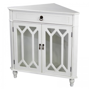Dorset 1-drawer, 2-door Corner Cabinet W/hexagonal Glass Inserts