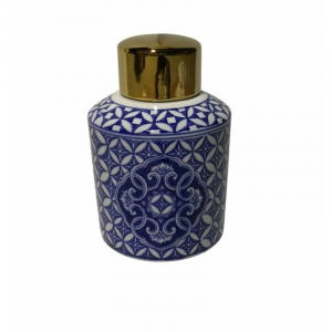 Benzara Dazzling Ceramic Covered Jar, Blue And White
