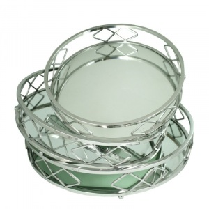 Benzara Graceful Silver Brimmed Metal Tray, Set Of 3