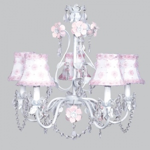 Jubilee Collection 7037-6003 5 Arm Stacked Glass Ball White Chandelier with Pink Petal Flower Sconce Shade