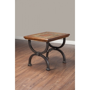 Alpine Furniture Milford End Table with Natural Slate Tiles