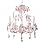 Jubilee Collection 5 Arm Ballroom Chandelier: Pink
