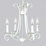 Jubilee Collection 4 Arm Harp Chandelier: White