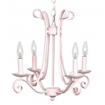 Jubilee Collection 4 Arm Harp Chandelier: Pink