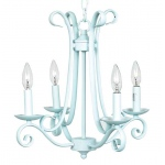 Jubilee Collection 4 Arm Harp Chandelier: Baby Blue