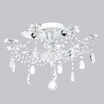 Jubilee Collection 3 Light Crystal Flower Ceiling Chandelier: White