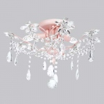 Jubilee Collection 3 Light Crystal Flower Ceiling Chandelier: Pink