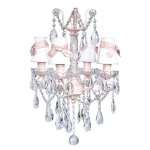 Jubilee Collection 4 Light Crystal Glass Center Chandelier: Pink