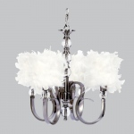 Jubilee Collection 4 Light Hampton Chandelier with White Feather Drum Shades