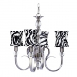Jubilee Collection 4 Light Hampton Chandelier with Zebra Print Hourglass Shades
