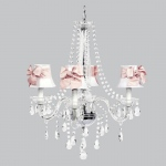 Jubilee Collection 4 Light Middleton Chandelier with White Shades and Pink Bow Sashes