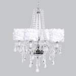 Jubilee Collection 4 Light Middleton Chandelier with White Rose Garden Drum Shades