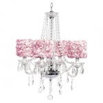 Jubilee Collection 4 Light Middleton Chandelier with Pink Rose Garden Drum Shades