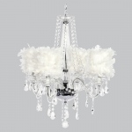 Jubilee Collection 4 Light Middleton Chandelier with White Feather Drum Shades