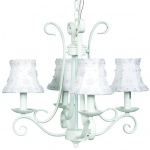 Jubilee Collection 4 Arm Harp Chandelier: White with Petal Flower Shade