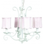Jubilee Collection 4 Arm Harp Chandelier: White with Strip Scallop Drum Shade