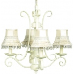 Jubilee Collection 4 Arm Harp Chandelier: Ivory with Ivory Skirt Dangle Shade
