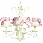 Jubilee Collection 4 Arm Harp Chandelier: Ivory with Plain Ivory Shade