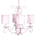Jubilee Collection 4 Arm Harp Chandelier: Pink with Strip Scallop Drum Shade