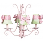 Jubilee Collection 4 Arm Harp Chandelier: Pink with Plain Modern Green Shade
