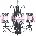 Jubilee Collection 4 Arm Harp Chandelier: Black with Hourglass Zebra Shade