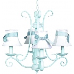 Jubilee Collection 4 Arm Harp Chandelier: Baby Blue with Plain White Shade