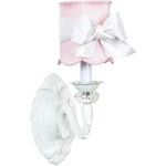 Jubilee Collection 1 Arm Chandelier Shade: White, Scallop Drum, Pink on Wall Sconce, Turret