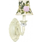 Jubilee Collection 1 Arm Chandelier Shade: Ivory, Rose Net Flower, Ivory on Wall Sconce, Turret