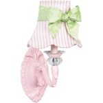 Jubilee Collection 1 Arm Chandelier Shade: Pink, Squash Scallop, Pink Stripe with Sash on Wall Sconce, Turret
