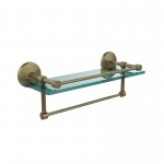 Allied Brass 16 Inch Gallery Glass Shelf with Towel Bar (product:MC-1TB/16-GAL, option:MC-1TB/16-GAL-ABR): Antique Brass