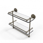 Allied Brass 16 Inch Gallery Double Glass Shelf with Towel Bar (product:P1000-2TB/16-GAL, option:P1000-2TB/16-GAL-ABR): Antique Brass