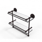 Allied Brass 16 Inch Gallery Double Glass Shelf with Towel Bar (product:P1000-2TB/16-GAL, option:P1000-2TB/16-GAL-ABZ): Antique Bronze