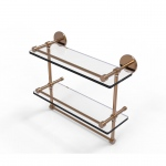 Allied Brass 16 Inch Gallery Double Glass Shelf with Towel Bar (product:P1000-2TB/16-GAL, option:P1000-2TB/16-GAL-BBR): Brushed Bronze