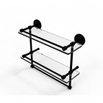 Allied Brass 16 Inch Gallery Double Glass Shelf with Towel Bar (product:P1000-2TB/16-GAL, option:P1000-2TB/16-GAL-BKM): Matte Black