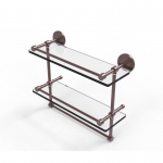 Allied Brass 16 Inch Gallery Double Glass Shelf with Towel Bar (product:P1000-2TB/16-GAL, option:P1000-2TB/16-GAL-CA): Antique Copper