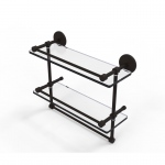 Allied Brass 16 Inch Gallery Double Glass Shelf with Towel Bar (product:P1000-2TB/16-GAL, option:P1000-2TB/16-GAL-ORB): Oil Rubbed Bronze